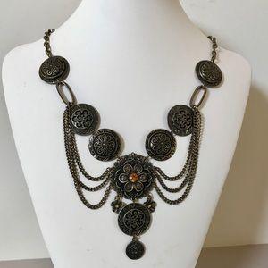 Vintage-Inspired Antique Brass Necklace